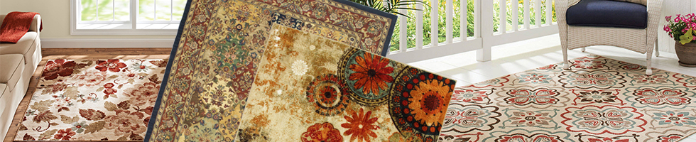 Floral-Botanical Rugs - Blacks and Grey Rugs