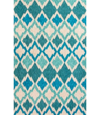 Jaipur Rugs Catalina Flamestitch CAT01 Blue-Ivory