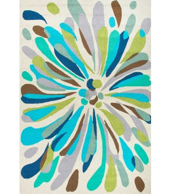 Jaipur Rugs Colours Flowerburst CO16 Blue-Green