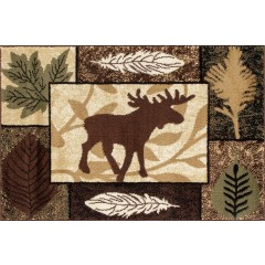 Art CarpetHearth Rugsbold leaf Black-Brown