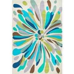 Jaipur RugsColoursFlowerburst CO16Blue-Green