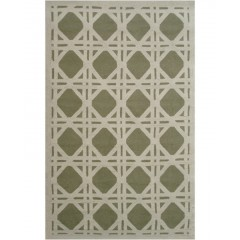 The Rug MarketCane 25215DGreen-Ivory