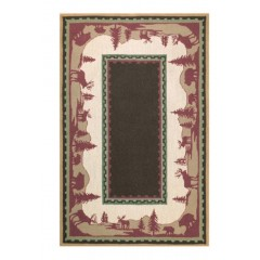 The Rug MarketHome On The 16325DBrn-Green-Red