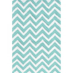 The Rug MarketKids Chevron25606DTeal-White