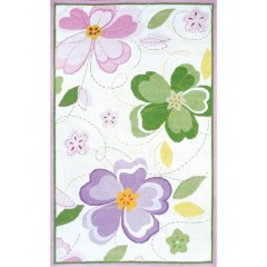 The Rug MarketKids Flower Stitch12352BWhite-Grn-Pink