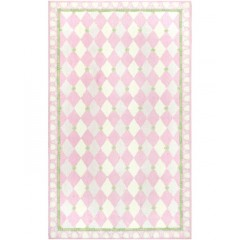 The Rug MarketKids Harlequin11479BPink-Green-Ivry