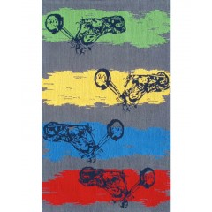 The Rug MarketKids Motocross11767BGrey-Blue-Red