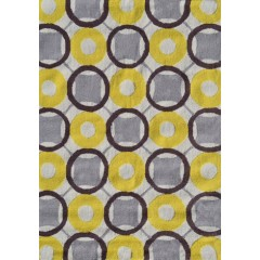 The Rug MarketPop Accents RoundersPA0105DYlw-White-Taupe