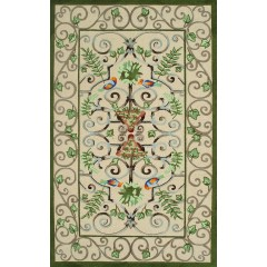 The Rug MarketRoku 11179DIvory-Grn-Peach