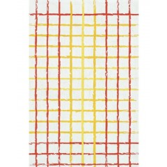 The Rug MarketRough Plaid 16465DWhite-Red-Yellw