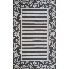 The Rug MarketSilk Rose Stripe 31046DBrown-Ivory